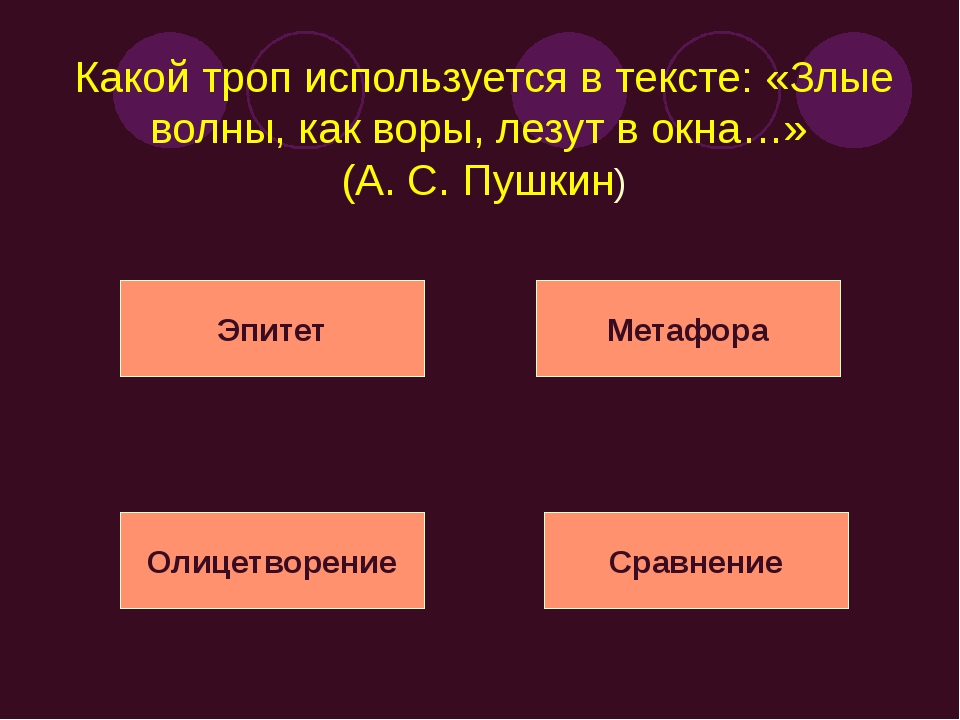 Какой троп используется в тексте: «Злые волны, как воры, лезут в окна…» (А. С...
