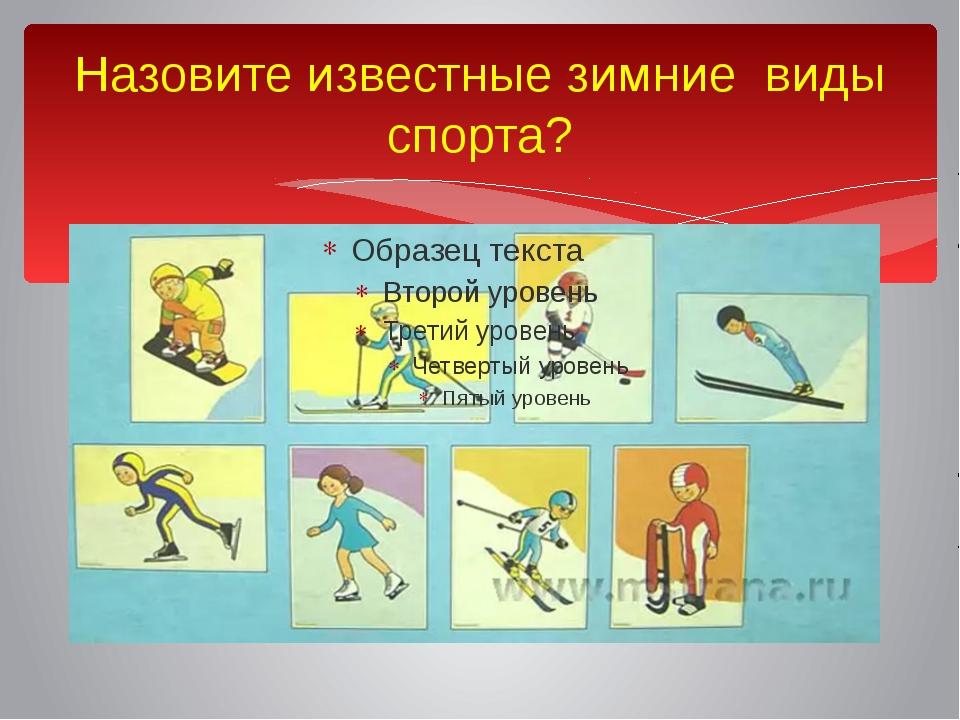 Назовите известные зимние виды спорта?