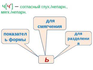 ч[ч'] – согласный глух./непарн., мягк./непарн. показатель формы для разделен