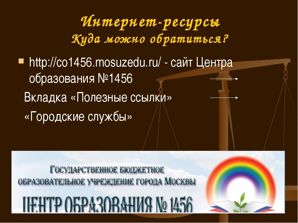 http://co1456.mosuzedu.ru/ - сайт Центра образования №1456 Вкладка «Полезные...