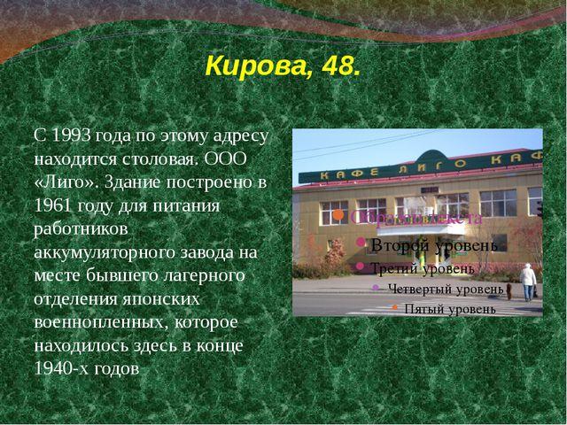 Кирова, 48. С 1993 года по этому адресу находится столовая. ООО «Лиго». Здани...