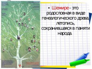 Шежире - это родословная в виде генеалогического древа, летопись, сохранившая
