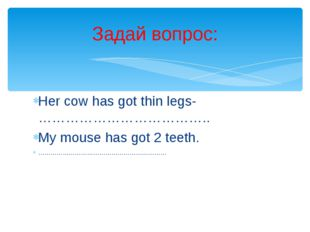 Her cow has got thin legs-……………………………….. My mouse has got 2 teeth. …………………………