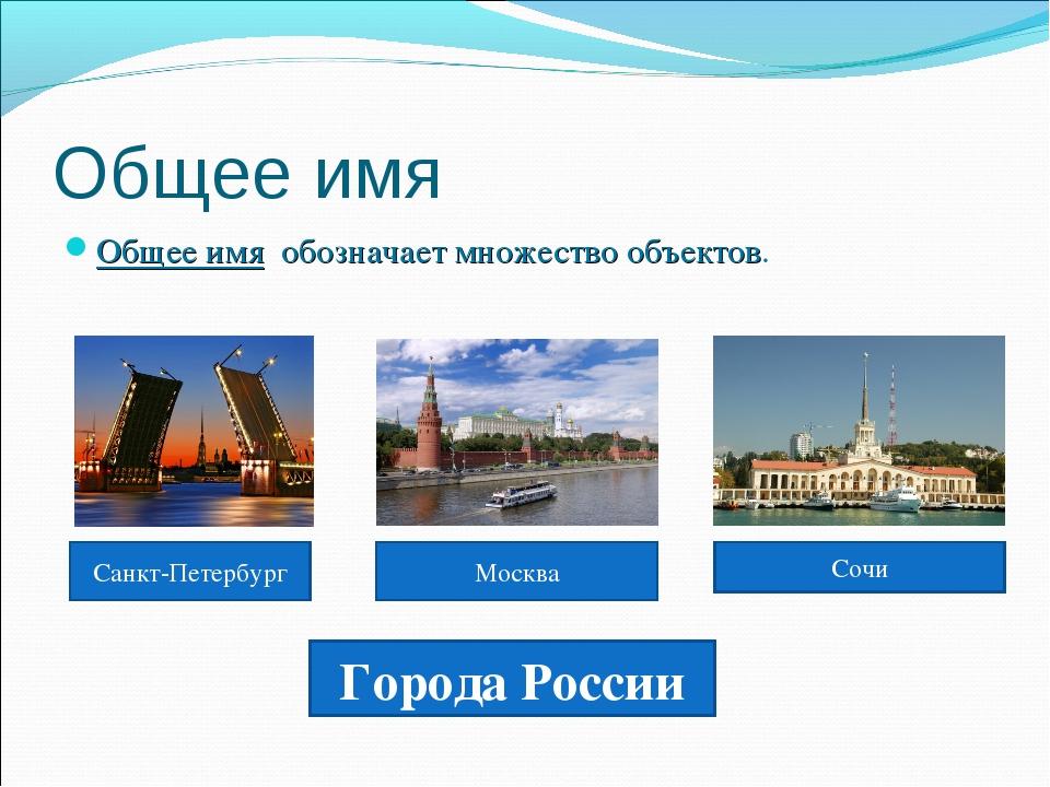 Общее имя Общее имя обозначает множество объектов. Города России Санкт-Петерб...