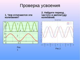 Проверка усвоения 1. Чем отличаются эти колебания? 2. Найдите период , частот