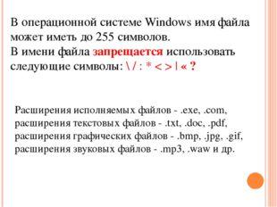 Расширения исполняемых файлов - .exe, .com, расширения текстовых файлов - .tx
