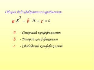 Общий вид квадратного уравнения: + b + с = 0 а - Старший коэффициент b - Втор