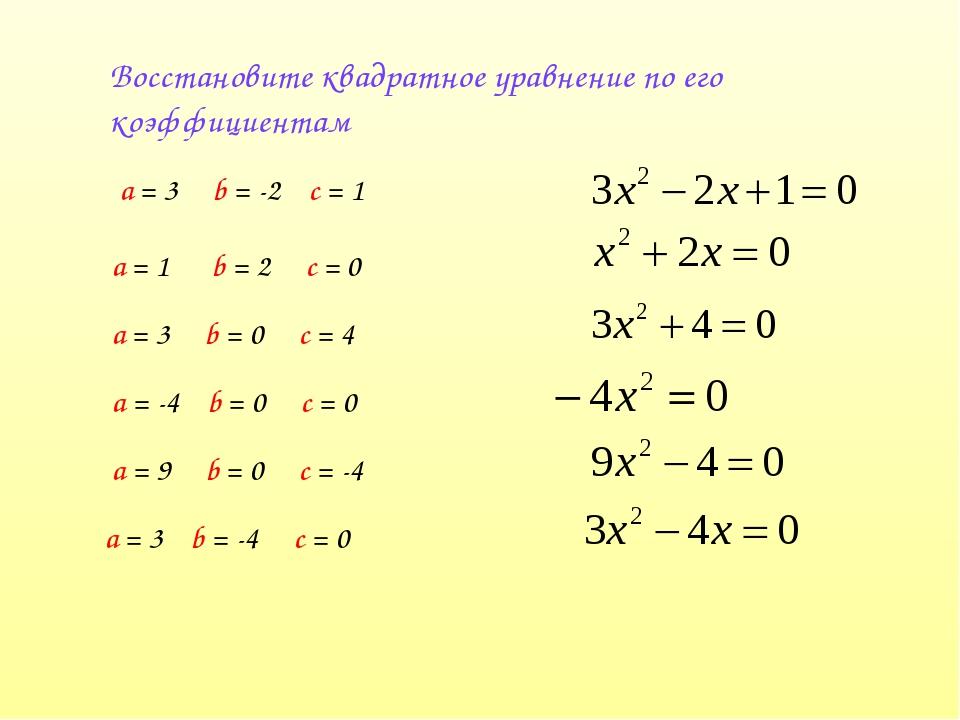 Восстановите квадратное уравнение по его коэффициентам а = 3 b = -2 с = 1 а =...