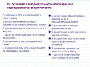 В5. Установите последовательность этапов процесса пищеварения в организме чел