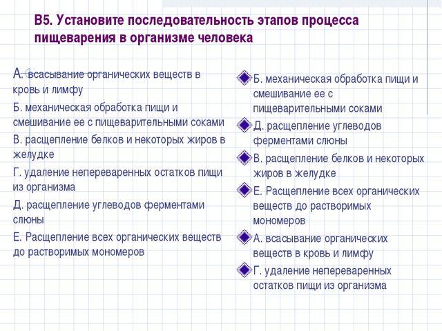 В5. Установите последовательность этапов процесса пищеварения в организме чел...