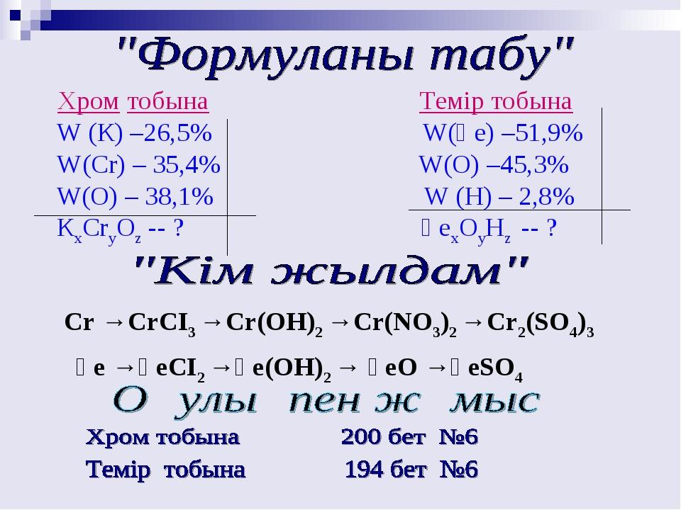 Хром тобына Темір тобына W (К) –26,5% W(Ғе) –51,9% W(Cr) – 35,4% W(О) –45,3%...
