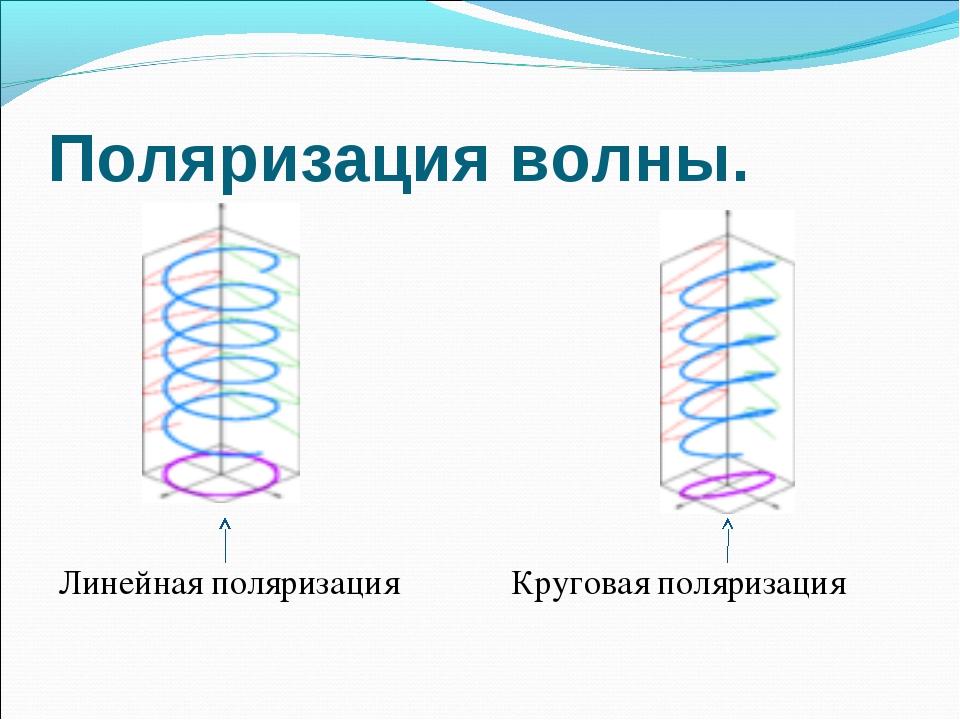 Поляризация волны. Линейная поляризация Круговая поляризация