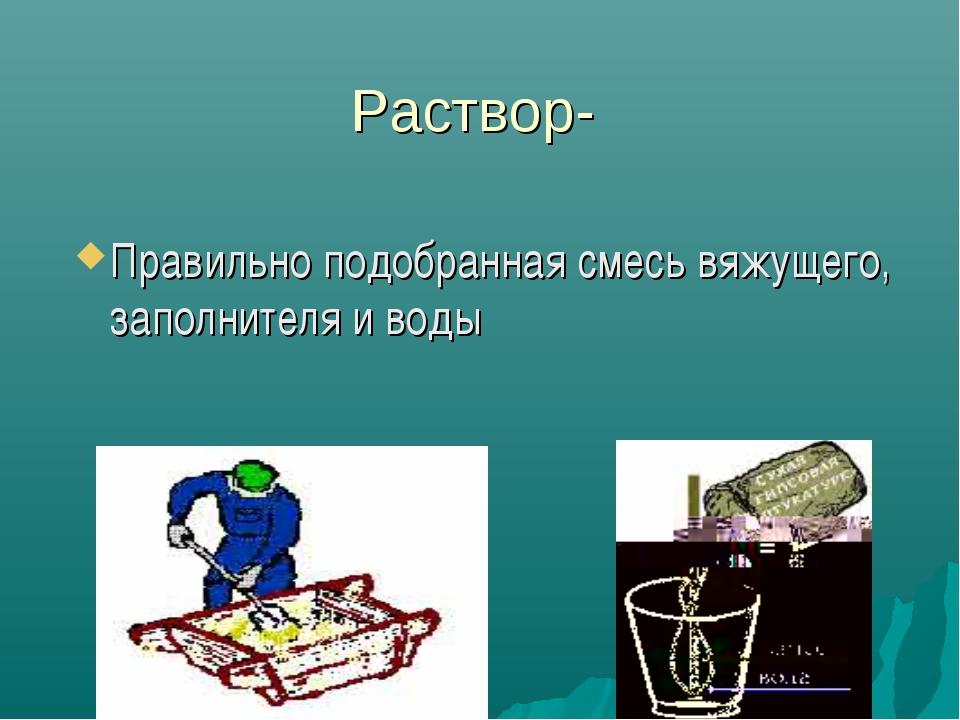 Раствор- Правильно подобранная смесь вяжущего, заполнителя и воды