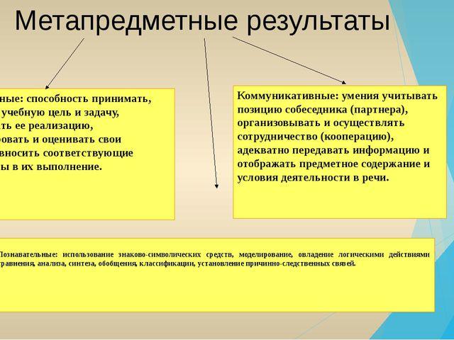 Метапредметные результаты Познавательные: использование знаково-символически...