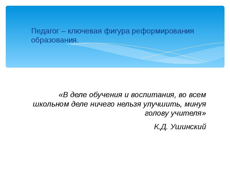 Педагог – ключевая фигура реформирования образования. «В деле обучения и восп...