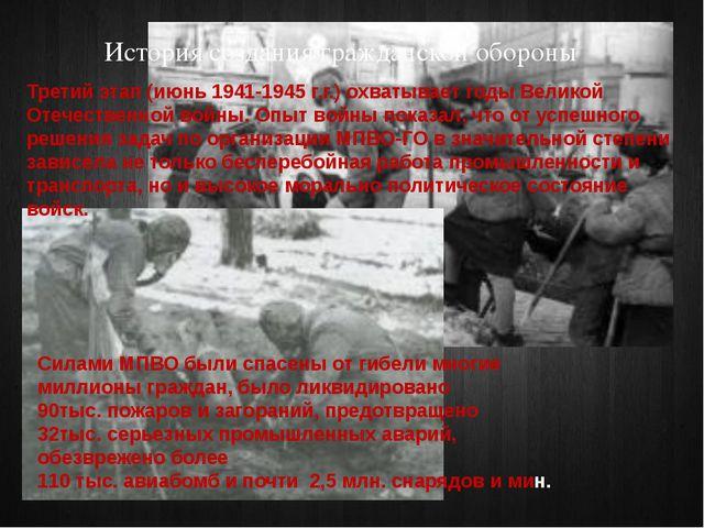 История создания гражданской обороны Третий этап (июнь 1941-1945 г.г.) охваты...