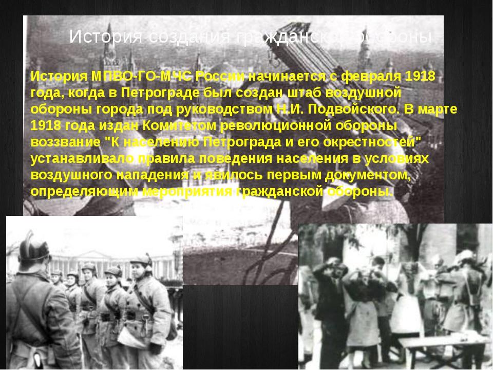 История создания гражданской обороны История МПВО-ГО-МЧС России начинается с...