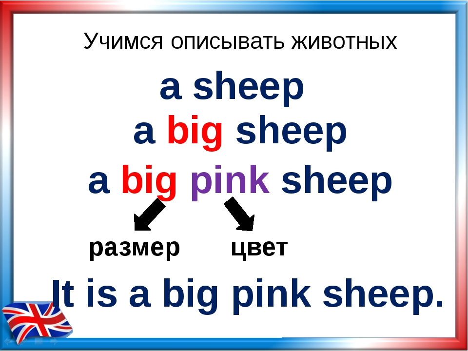 Учимся описывать животных a sheep a big sheep a big pink sheep размер цвет It...