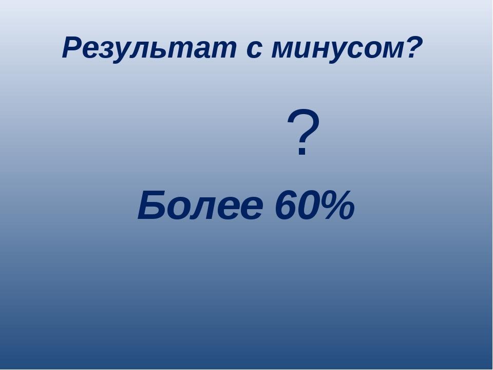 Результат с минусом? ? Более 60%