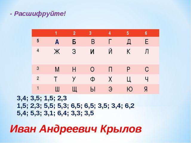 - Расшифруйте! 3,4; 3,5; 1,5; 2,3 1,5; 2,3; 5,5; 5,3; 6,5; 6,5; 3,5; 3,4; 6,2...