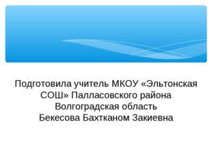 Подготовила учитель МКОУ «Эльтонская СОШ» Палласовского района Волгоградская