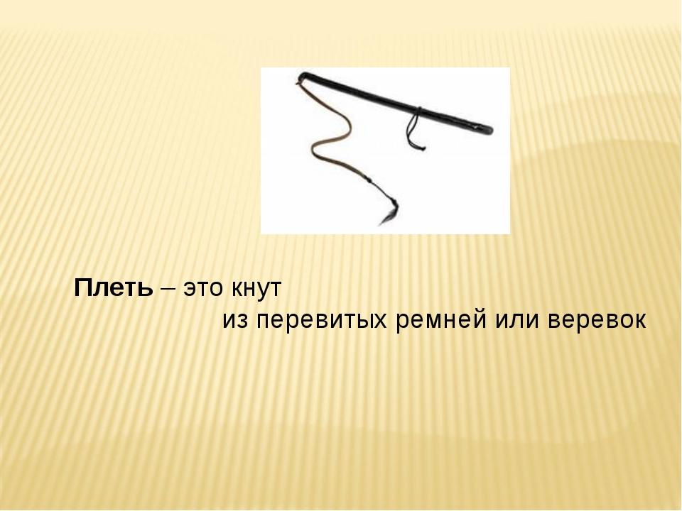 Плеть – это кнут из перевитых ремней или веревок