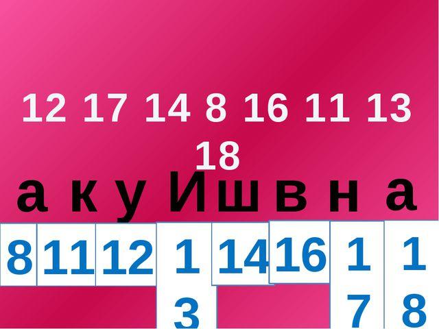 12 17 14 8 16 11 13 18 а к у И ш в н а 8 11 12 13 14 16 17 18