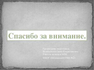 Спасибо за внимание. Презентацию подготовила Вознесенская Анна Владиславовна