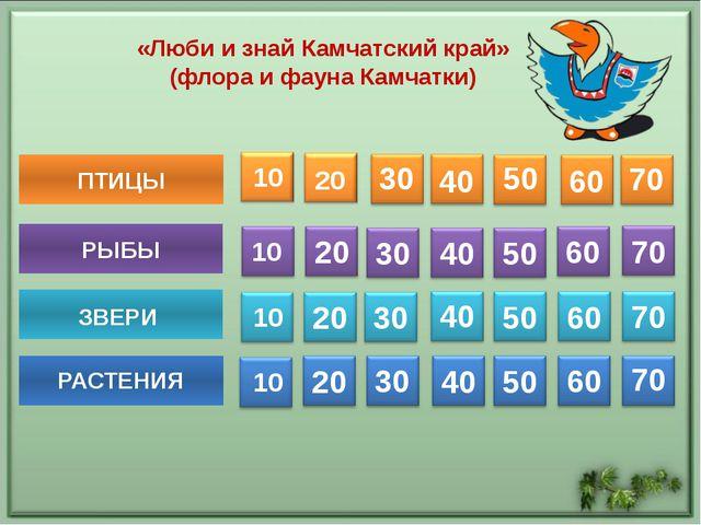 ПТИЦЫ 30 40 50 60 70 РЫБЫ 20 30 40 50 60 70 20 30 40 50 60 70 20 30 40 50 60...