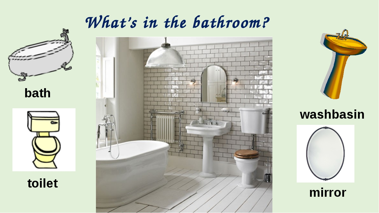 What's in the bathroom? bath washbasin toilet mirror