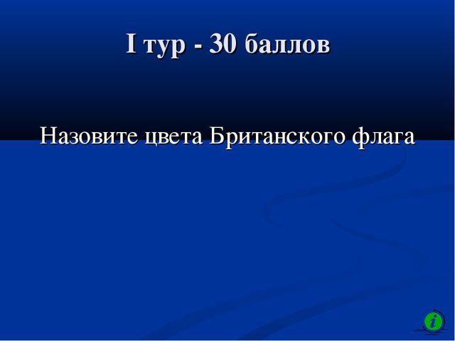 I тур - 30 баллов Назовите цвета Британского флага