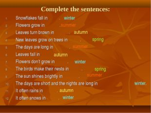 Complete the sentences: Snowflakes fall in . Flowers grow in . Leaves turn br