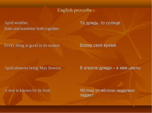 English proverbs : April weather, Rain and sunshine both together.	То дождь,