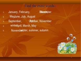 Find the extra words : January, February, December June, July, August Septemb