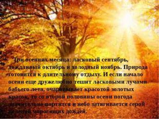 Три осенних месяца: ласковый сентябрь, дождливый октябрь и холодный ноябрь.