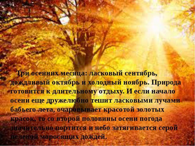 Три осенних месяца: ласковый сентябрь, дождливый октябрь и холодный ноябрь....