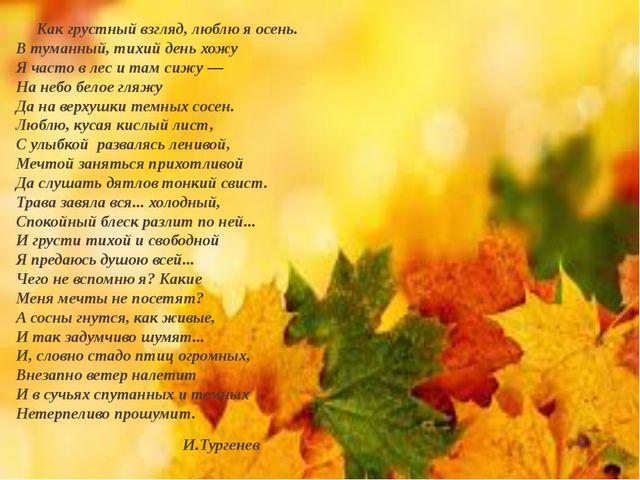 Как грустный взгляд, люблю я осень. В туманный, тихий день хожу Я часто в ле...