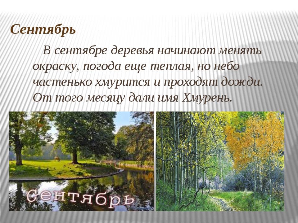 Сентябрь В сентябре деревья начинают менять окраску, погода еще теплая, но не...
