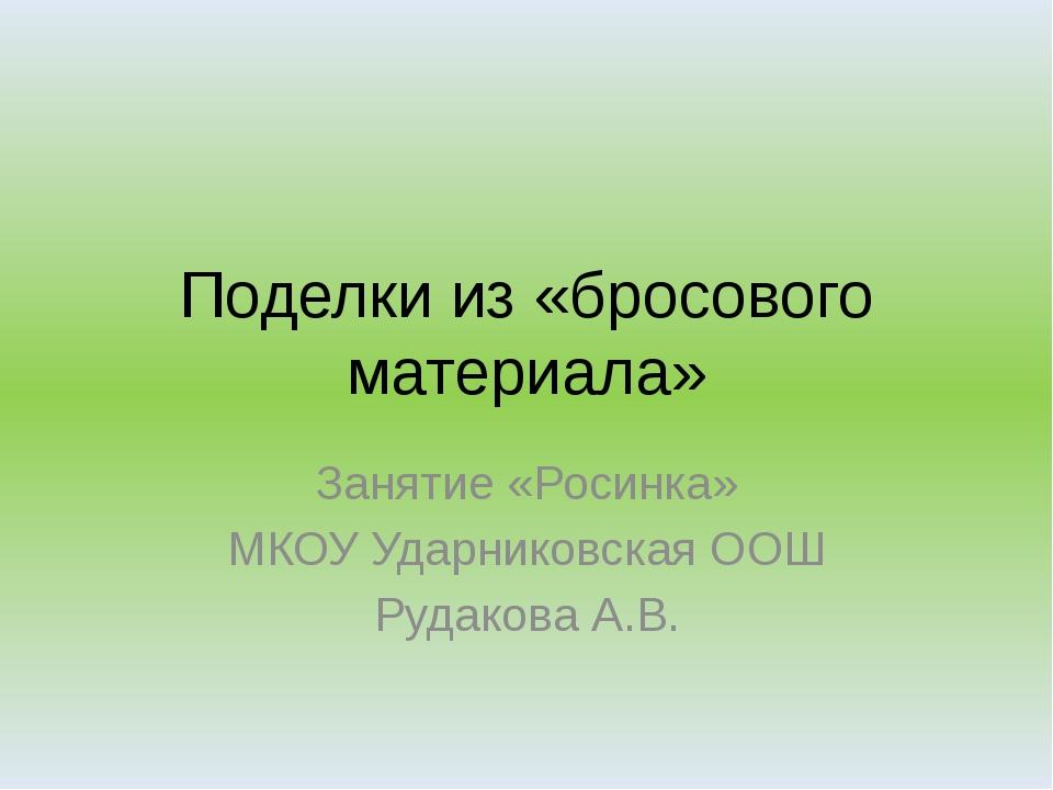 Поделки из «бросового материала» Занятие «Росинка» МКОУ Ударниковская ООШ Руд...