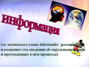 (от латинского слова informatio- разъяснение, изложение)-это сведения об окру