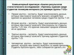 Компьютерный практикум «Анализ результатов статистического исследования «Прич