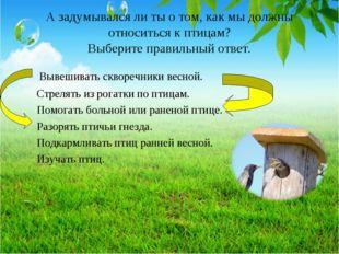 А задумывался ли ты о том, как мы должны относиться к птицам? Выберите правил