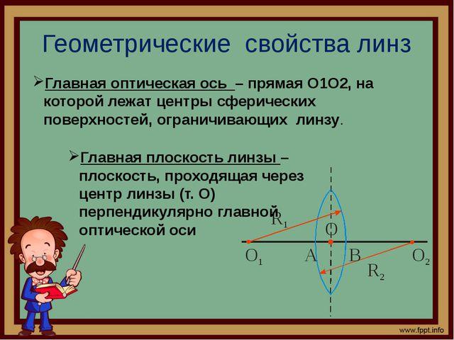 Геометрические свойства линз Главная оптическая ось – прямая, на которой лежа...