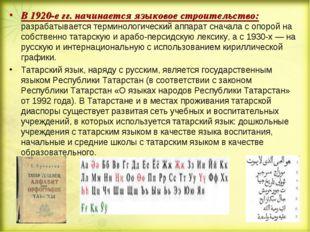 В 1920-е гг. начинается языковое строительство: разрабатывается терминологиче