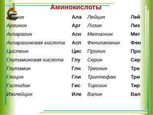 Аминокислоты Аланин Ала Лейцин Лей Аргинин Арг Лизин Лиз Аспарагин Асн Метион