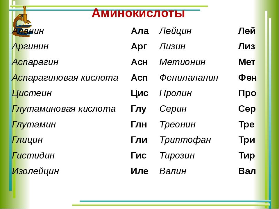 Аминокислоты Аланин Ала Лейцин Лей Аргинин Арг Лизин Лиз Аспарагин Асн Метион...