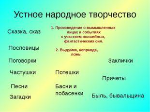 Устное народное творчество Сказка, сказ Пословицы Поговорки Частушки Песни За