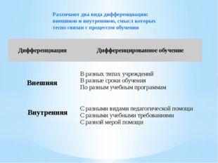 Различают два вида дифференциации: внешнюю и внутреннюю, смысл которых тесно