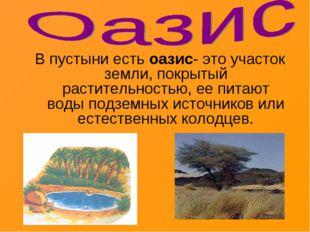 В пустыни есть оазис- это участок земли, покрытый растительностью, ее питают