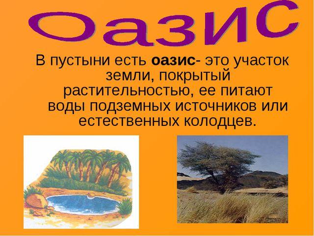 В пустыни есть оазис- это участок земли, покрытый растительностью, ее питают...